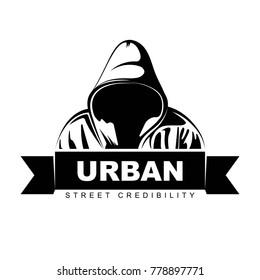 Man in hoodie. Logo design.