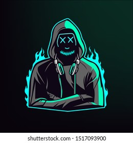 man in hoodie with neon mask, mascot logo design, vector illustration