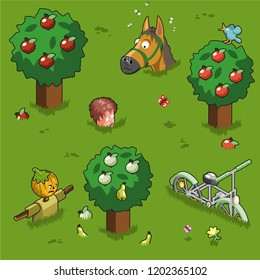 Man, horse, bicycle and scarecrow stuck in high grown grass (isometric illustration)