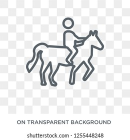 Man Horseriding icon. Trendy flat vector Man Horseriding icon on transparent background from People collection. High quality filled Man Horseriding symbol use for web and mobile