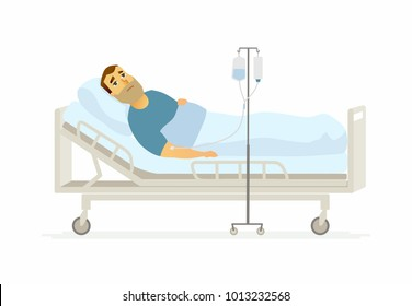 Man in hospital on a drip - cartoon people characters illustration on white background. A young person lying in a bed with an infusor. Medical, healthcare theme