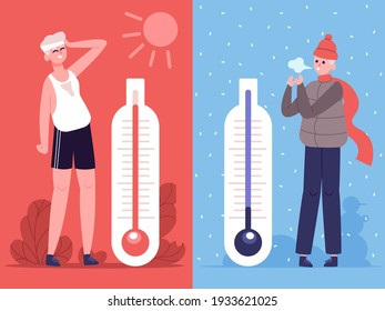 Man in hot and cold weather. Outdoor temperature thermometers, weather influence human. Male character in summer and winter season vector illustration set. Sweating and frozen guy or boy