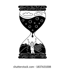 The man in the hourglass. Sand dunes lack of water in the desert. The man asks for water. Black and white vector graphics