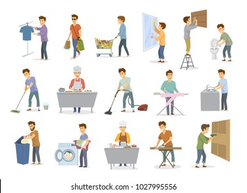 man at household activities set, men shopping wash floor dishes toilet, cleans home window, vacuuming, repaire drilling constructing hammering, cooks bakes irons make laundry, sawing wood graphic