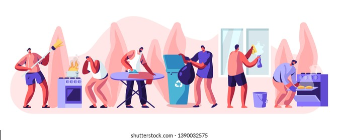 Man at Household Activities Set. Sweeping Floor, Cleaning Home Window, Cooking Bakes, Ironing, Throw Garbage Cooking. Housekeeping Management of Duties and Chores. Cartoon Flat Vector Illustration