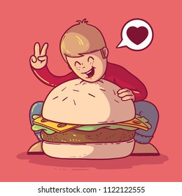 Man hugging a Big Burger vector illustration. Fast food, restaurant, love, burger, food, dinner design concept