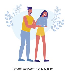 Man Hugging Crying Girl Flat Vector Illustration. Boyfriend Helping Depressed, Frustrated Girlfriend Cartoon Characters. Guy Comforting Disappointed and Upset Woman. Unhappy Frustrated Person