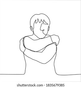 man hugs himself. one line drawing concept of self-help, reflection, therapy, independence, loneliness, lack of warmth, desire for closeness, crave hug, hug, self-hug, support, self-support