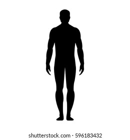 Man. Human front side Silhouette. Isolated on White Background. Vector illustration.