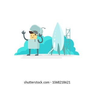 Man human spacesuit character luck cute spaceman move ones hand to and fro in greeting. Astronaut near the spaceship. Flat color vector illustration stock