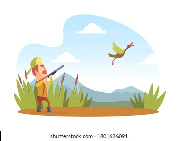 Man Hunter with Shotgun Hunting Duck, Funny Hunter Character Wearing Khaki Clothes and Hat with Rifle Cartoon Vector Illustration