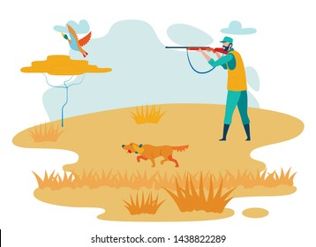 Man Hunting in Steppe Cartoon Vector Character. Hunter Shooting Wild Duck, Dog Running Flat Illustration. Guy Aiming Wild Duck from Shotgun in Forest. Wilderness Area, Animals Hunting Season