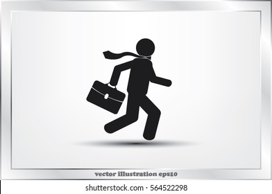 man in a hurry to work, icon vector illustration EPS 10