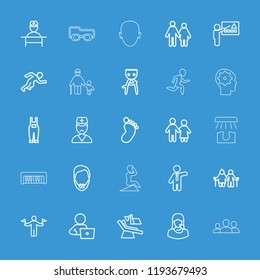 Man icon. collection of 25 man outline icons such as foot print, hair removal, couple, old couple, gardener jumpsuit, customer support. editable man icons for web and mobile.
