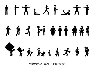 man icon, different situations, pictogram people, stick figure character set, sport and exercise, overweight and lifestyle, weightlifting