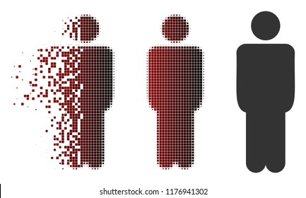Man icon in dissolved, pixelated halftone and undamaged entire variants. Particles are organized into vector sparkle man icon.