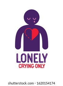 Man icon with half heart lonely and missing his mate lover girlfriend, divorce breakup and loneliness vector concept symbol, stylish illustration of broken relations.