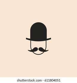 Man icon with mustache and kettle hat
