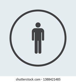 Man icon silver in circle . Vector illustration