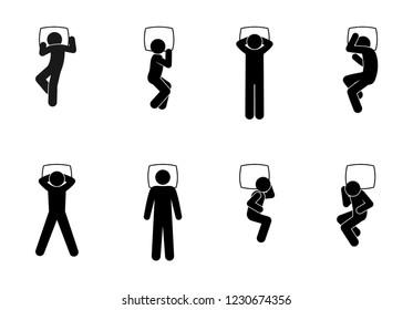man icon, sleeping people pictogram set, poses of people during sleep