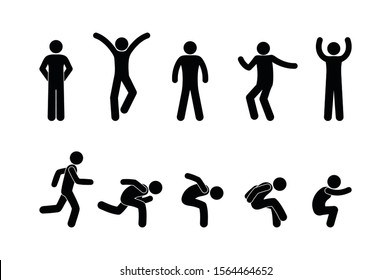 man icon, stick figure people illustration, isolated human silhouettes, various poses, running and jumping