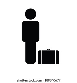 man icon with travel bag vector illustration
