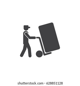 Man icon with trolley. vector illustration