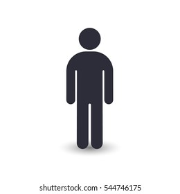 Man icon vector silhouette, front view, simple illustration isolated on white.