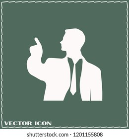 Man Icon vector. Simple flat symbol. Perfect Grey pictogram illustration on green background.