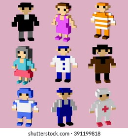 Man icons of 3D pixel art for design project -   vector illutration