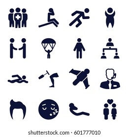man icons set. Set of 16 man filled icons such as sleeping emot, abdoninal workout, couple, running, knee hammer reaction check, medical group, structure, help support