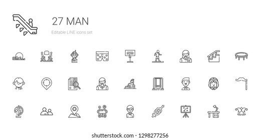 man icons set. Collection of man with strategy, gender, student, school bus, placeholder, user, globe, groom, swing, treadmill, woman, curriculum. Editable and scalable man icons.