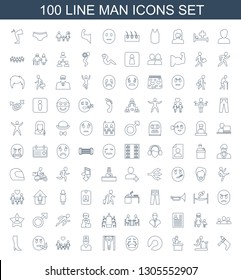 man icons. Trendy 100 man icons. Contain icons such as nail gun, man on treadmill, airport desk, expander sport, crying emoji, bar tightening, doctor. icon for web and mobile.