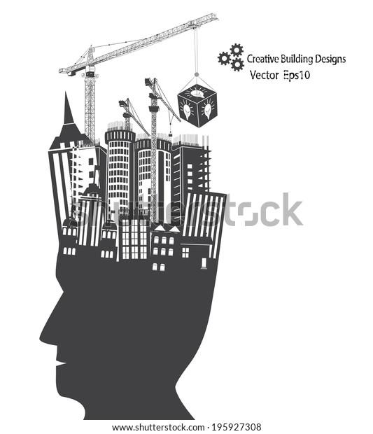 Man Idea Building Designs Concept Illustration Stock Vector ...