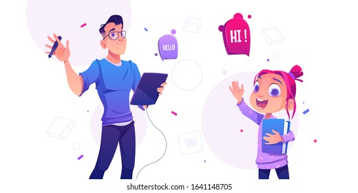 Man illustrator hold tablet and pen and cheerful little girl with book waving hands in greeting gesture saying hello. Profession of artist, graphic designer painting images Cartoon vector illustration