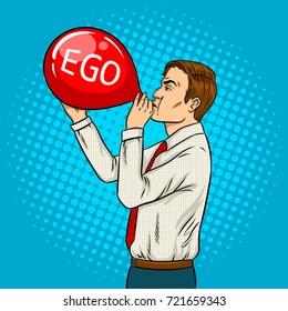 Man inflate red air balloon pop art retro vector illustration. Ego metaphor. Comic book style imitation.