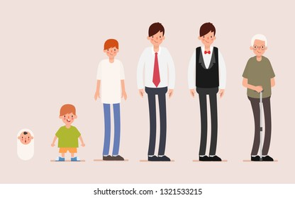 Man infographic age grow up lifespan. Babe to childrend to young to married and then older. Animation cartoon for motion graphic.