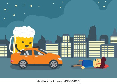 Man injured and senseless after beer push a car crashed him. This illustration about drunk driving that causes of car accidents and tragedy.