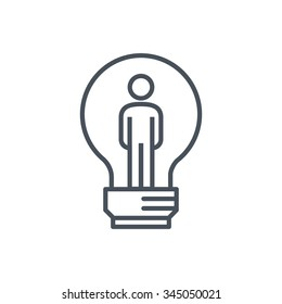 Man inside the lamp icon suitable for info graphics, websites and print media. Colorful vector, flat icon, clip art.