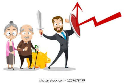 Man insurer protect old people money vector illustration. Cartoon assurer defending pensioner piggy bank with shield and sword. Insurance of retirement money concept