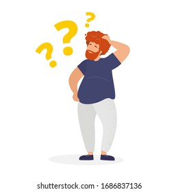 Man is interested in the question. He scratches his head with his hand and thinks about solving a problem. Question mark. Modern vector illustration.
