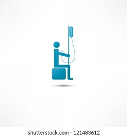 Man and Intravenous dropper icon