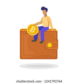 Man investing a bitcoin in his wallet, flat minimalist style. Vector illustration of capital flow, making money, financial savings.