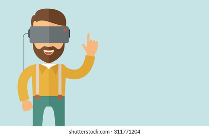 A man with isometric virtual reality headset. A Contemporary style with pastel palette, soft blue tinted background. Vector flat design illustration. Horizontal layout with text space in right side.