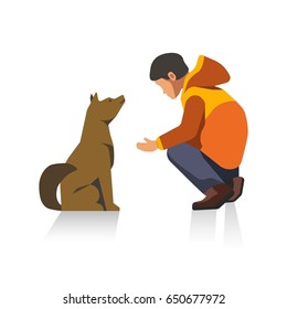 Man in jacket and dog cartoon characters isolated illustration