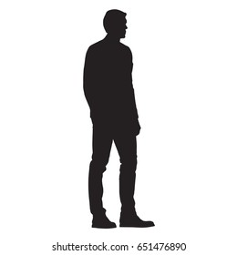 Man in jacket standing with hand in his pocket, side view, isolated vector silhouette