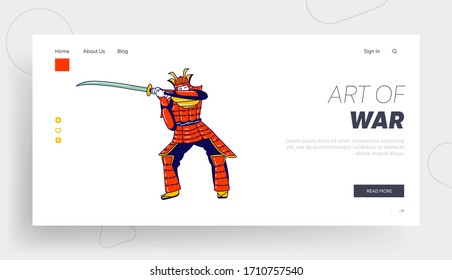 Man Japanese Solder, Warrior or Actor in Action, Museum Landing Page Template. Samurai Character Wearing Traditional Japanese Ammo Stand with Katana Sword Prepare to Fight. Linear Vector Illustration