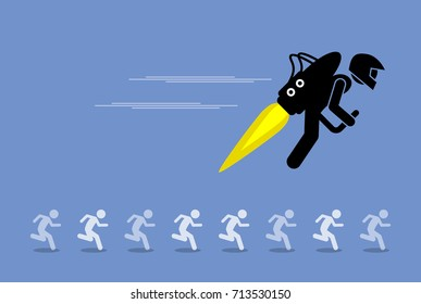 Man with jet pack flying ahead of everybody else. Vector artwork depicts advancing, moving forward, beating competitors, and competitive advantage.