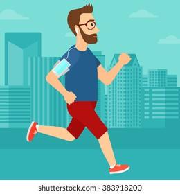 Man jogging with earphones and smartphone.