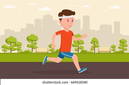 Man jogging in park amid a big city. Cartoon illustration of a r